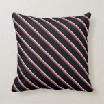 [ Thumbnail: White, Orchid, Brown & Black Stripes Throw Pillow ]