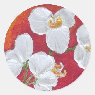 White Orchid Classic Round Sticker