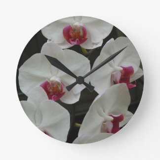 White Orchid Round Wall Clocks