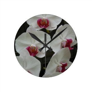 White Orchid Round Clocks