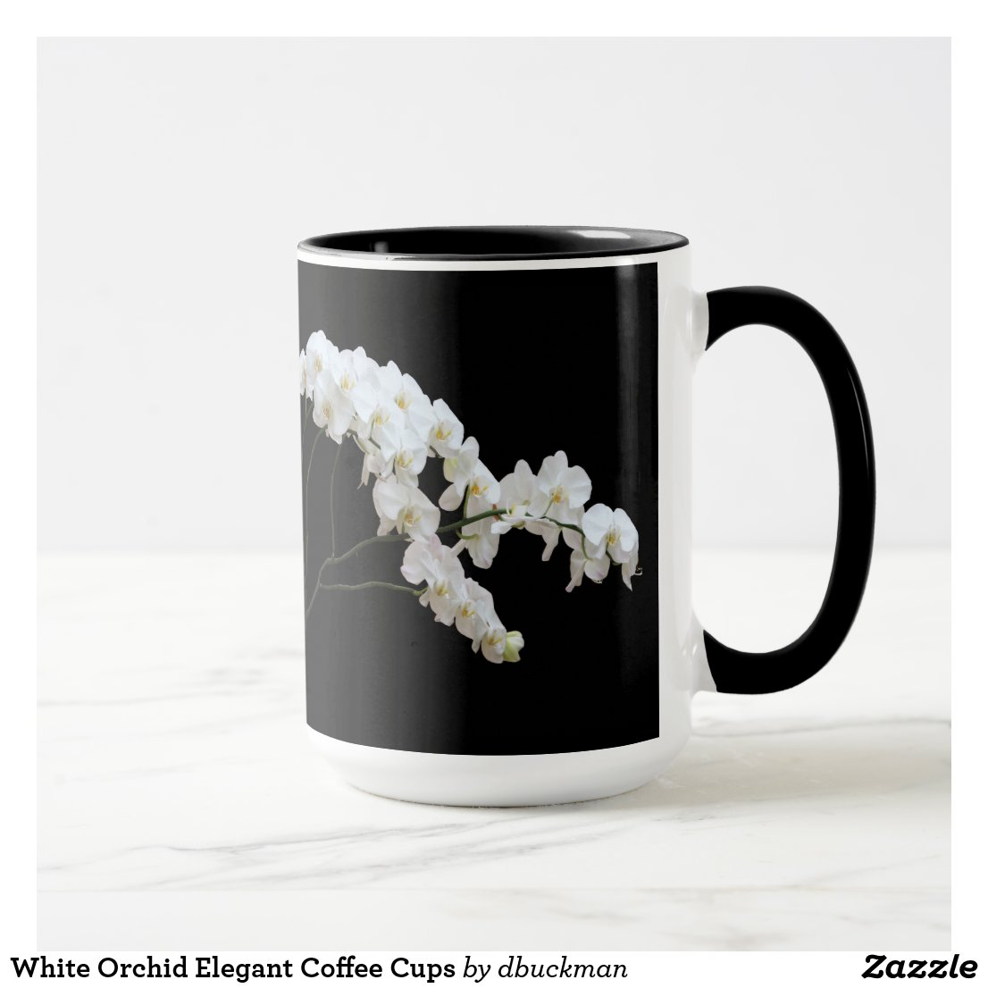White Orchid Elegant Coffee Cups