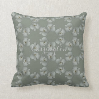 White orchid endless circles green gray cotton pillow