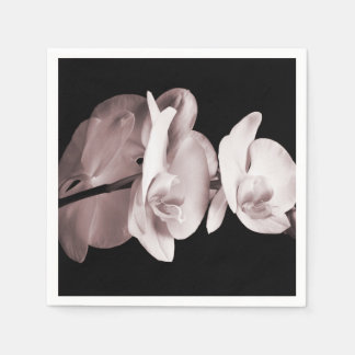 White Orchid Flower Black Background Abstract Paper Napkin