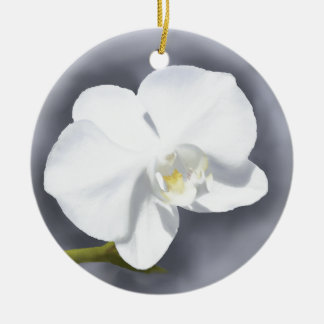 White Orchid Flower Ceramic Ornament