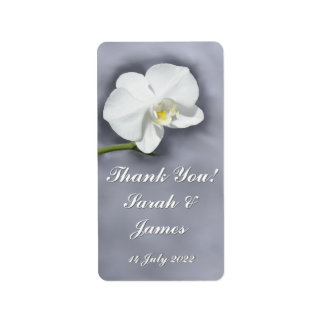 White Orchid Flower Personalized Wine Labels