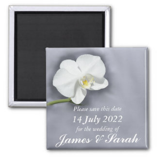 White Orchid Flower Save the Wedding Date Magnet