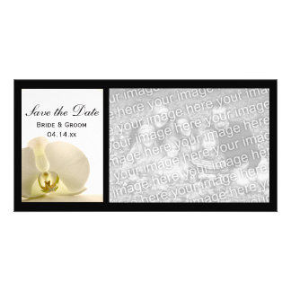 White Orchid Flower Wedding Save the Date Card