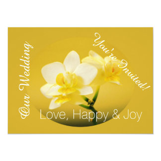 White orchid flowers in yellow Christian wedding 5.5x7.5 Paper Invitation Card