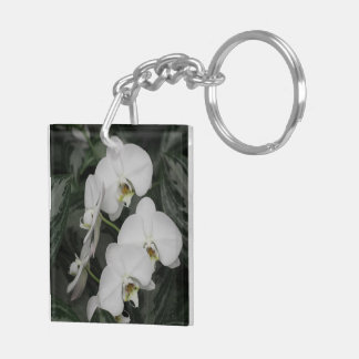 White Orchid flowers Keychain