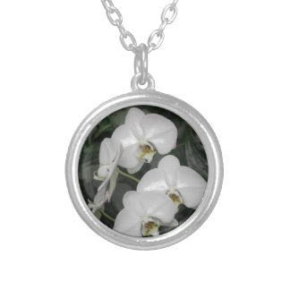 White Orchid flowers Silver Plated Necklace