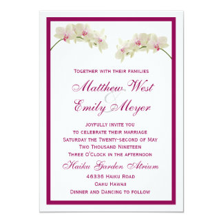 White Orchid Flowers Tropical Beach Wedding Card
