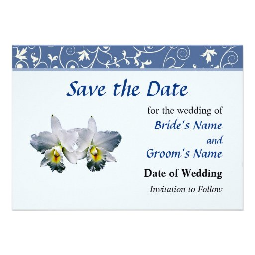 White Orchid Hawaiian Wedding Song Save The Date Custom Invitation