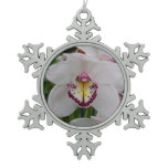 White Orchid II Elegant Floral Snowflake Pewter Christmas Ornament
