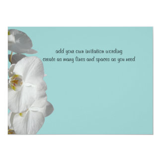 White Orchid Jewel Blue Original Design Card