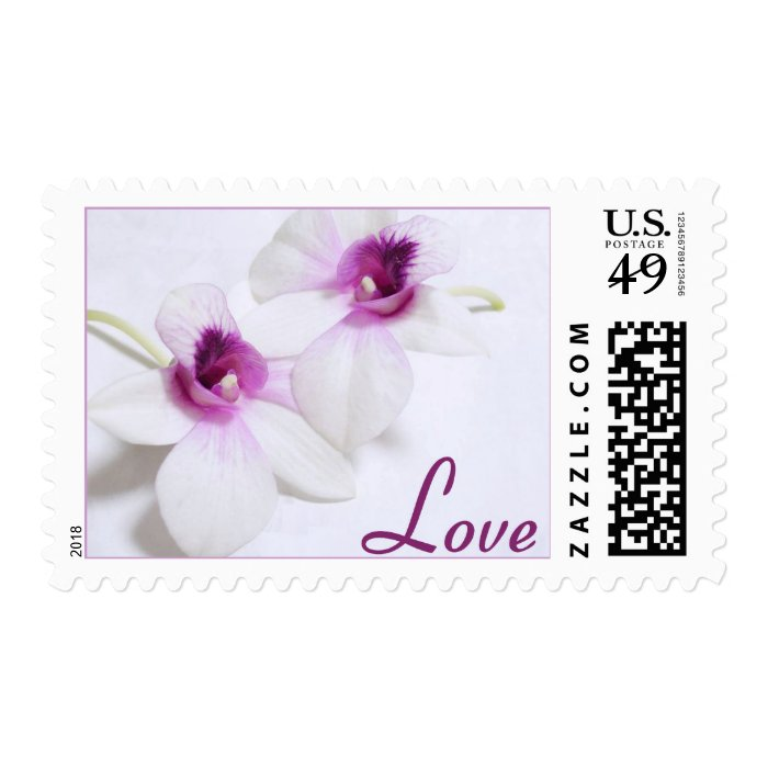 White Orchid Love Postage Stamps