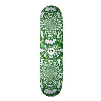 White Orchid Mandala monogram Skateboard