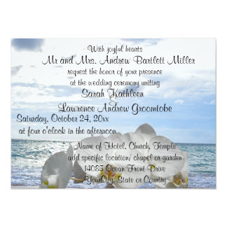White Orchid Ocean Waves Wedding Personalized Invitation