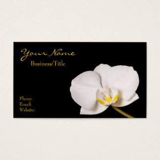White Orchid on Black Business Card