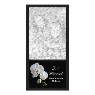White Orchid on Black Just Married Wedding Photo Card