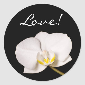 White Orchid on Black, Love! Classic Round Sticker