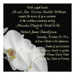 White Orchid on Black Personalized Invites