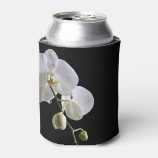 White Orchid on Black Wedding Can Cooler