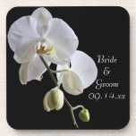 White Orchid on Black Wedding Drink Coasters