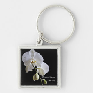 White Orchid on Black Wedding Keychain