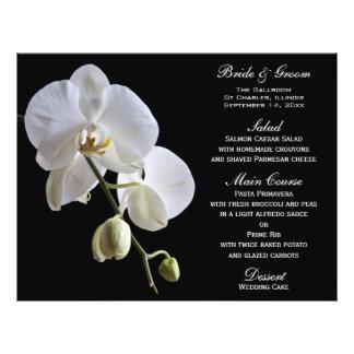 White Orchid on Black Wedding Menu