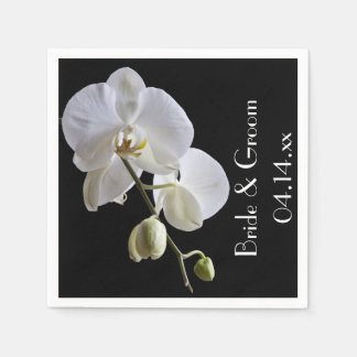 White Orchid on Black Wedding Paper Napkin