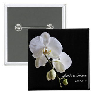 White Orchid on Black Wedding Pinback Button