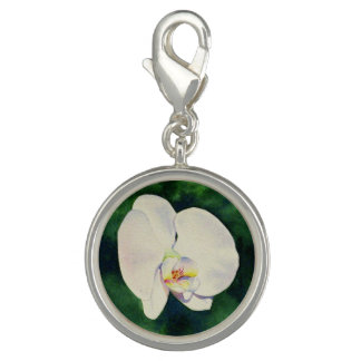 White Orchid Photo Charms
