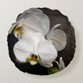 White Orchid Round Pillow