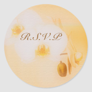 White orchid rsvp stickers - customizable template