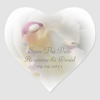 White Orchid Save The Date Heart Sticker