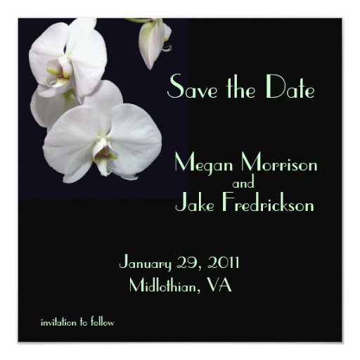 White Orchid Save the Date 5.25x5.25 Square Paper Invitation Card