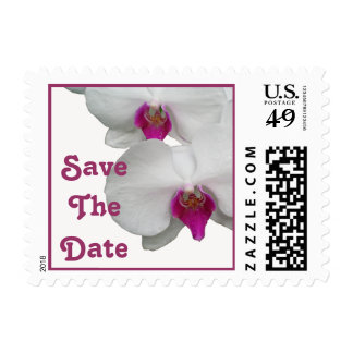 White Orchid Save The Date Postage