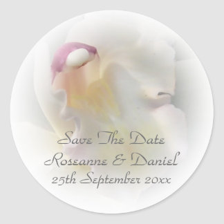 White Orchid Save The Date Sticker Stickers