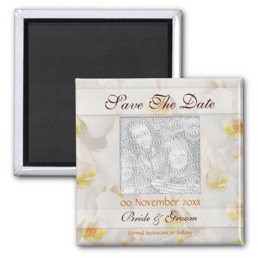 White orchid save the date wedding invitations 2 inch square magnet