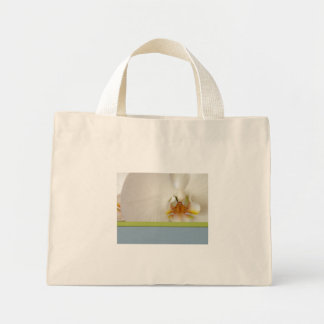 White orchid template with blue and green accent mini tote bag