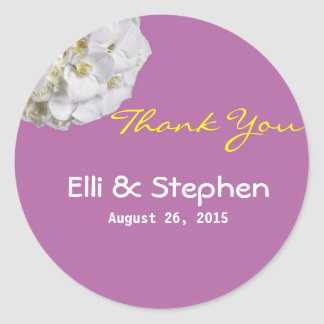 White Orchid Thank You Wedding Favor Stickers