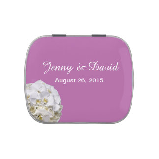 White Orchid Wedding Favor Candy Tins Jelly Belly Tin