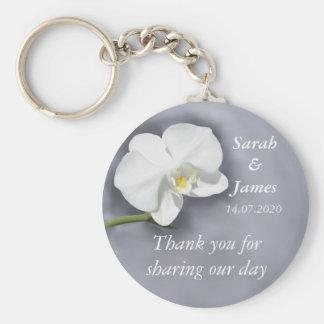 White Orchid Wedding Favor Key Ring Basic Round Button Keychain