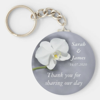 White Orchid Wedding Favor Key Ring Keychain