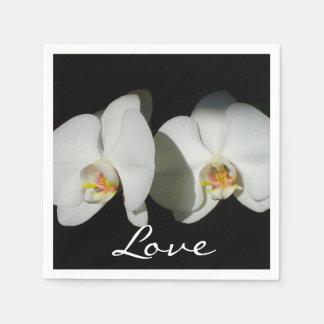 White Orchid Wedding Napkin
