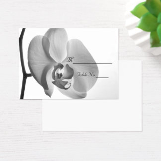 White Orchid Wedding Place Card