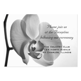 White Orchid Wedding Reception Card Business Card