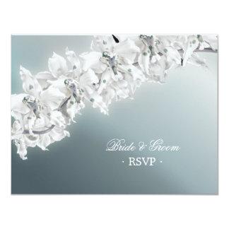 White Orchid - Wedding RSVP card Custom Invitations