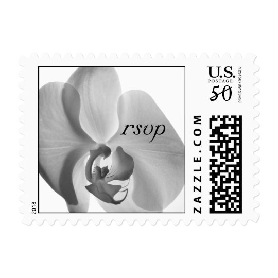White Orchid Wedding RSVP Postage Stamp