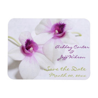 White Orchid Wedding Save the Date Magnets